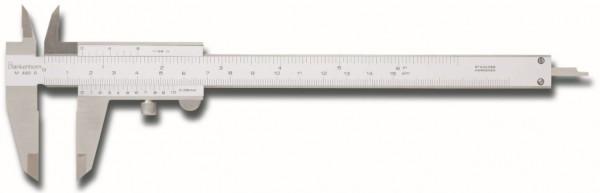 Messschieber, Doppelprismenführung, Feineinstellung, Messbereich 150mm, Schnäbel 40mm, parallaxefrei